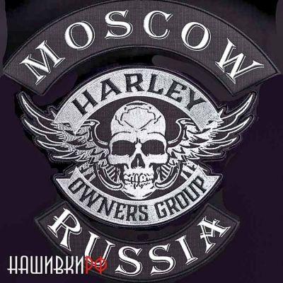 Нашивки байкерские на куртку HOG, MOSCOW, RUSSIA
