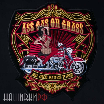 Нашивка на спину девушка на мотоцикле