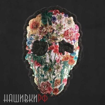 Нашивка череп с цветами